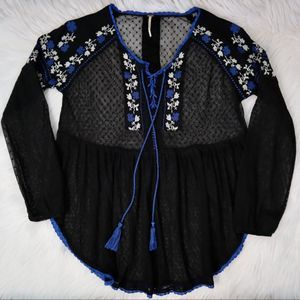Free People Roses Are Red Lace Blouse